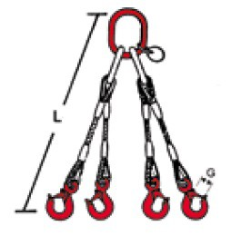 SIDRA 4-Strang-Drahtseilgehänge nach EN 13414-1 - mit Ösenhaken verpresst