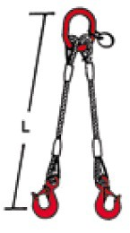 SIDRA 2-Strang-Drahtseilgehänge nach EN 13414-1 - mit Ösenhaken verpresst